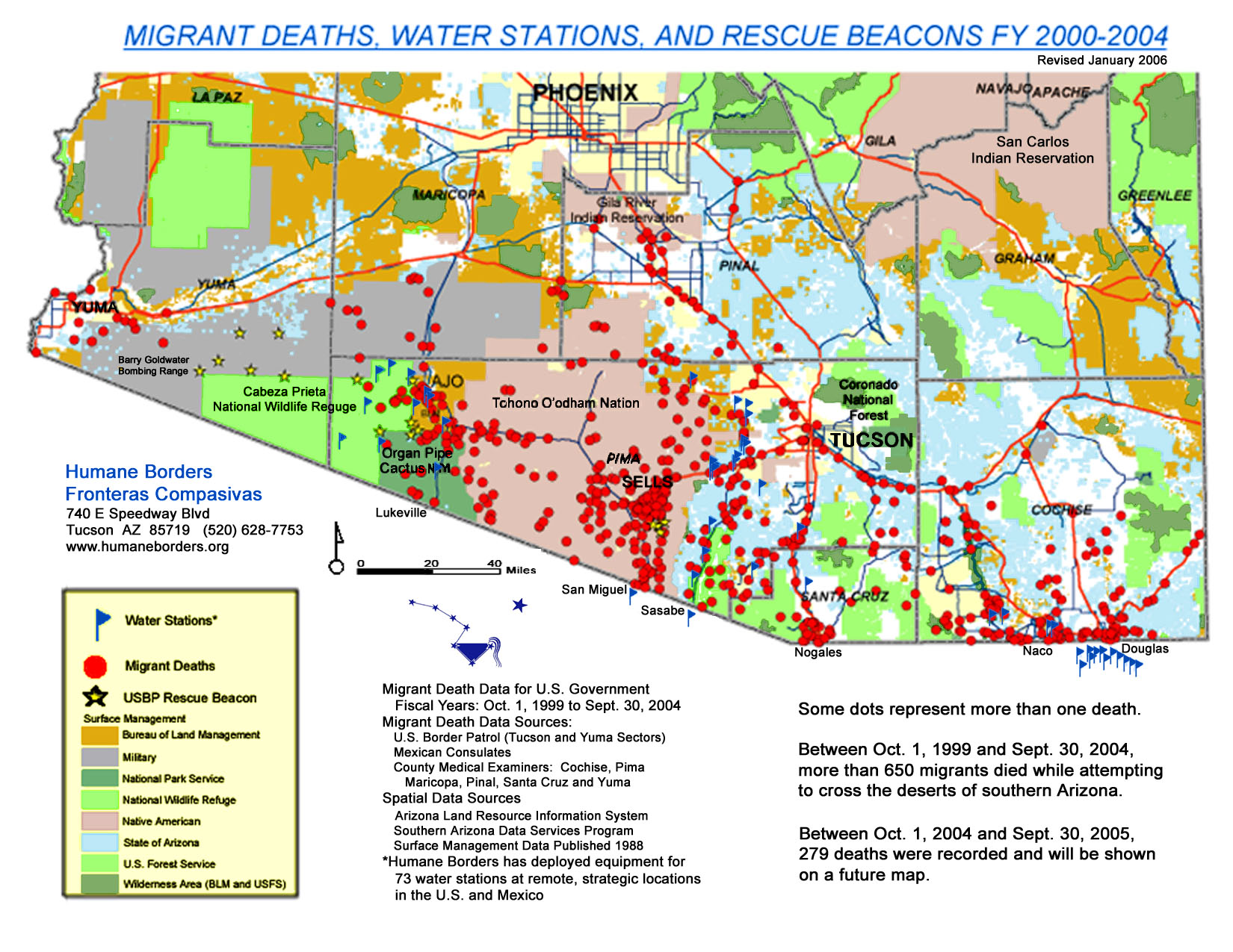 migrant deaths water stations rescue beacons fy 2000 2004